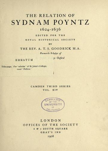 Download The relation of Sydnam Poyntz, 1624-1636