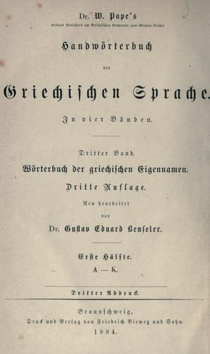 Wörterbuch der griechischen Eigennamen.