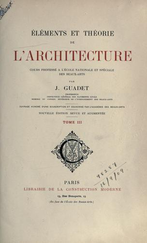 Download Éléments et théorie de l'architecture