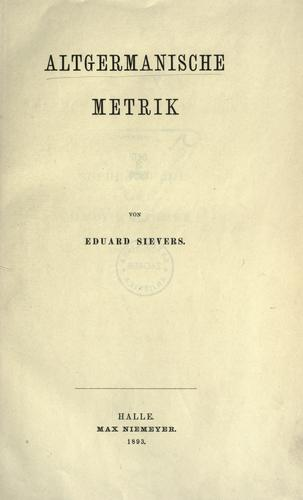 Altgermanische metrik by Sievers, Eduard