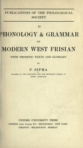 Download Phonology & grammar of modern West Frisian