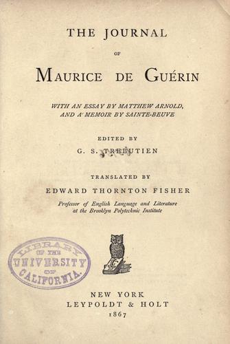 The journal of Maurice de Guérin