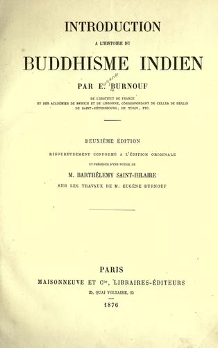 Download Introduction à l'histoire du buddhisme indien.