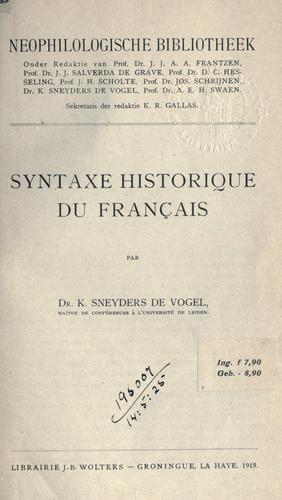 Syntaxe historique du français