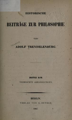 Historische Beiträge zur Philosophie.