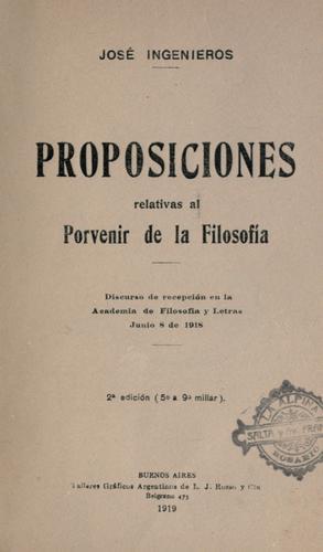 Proposiciones relativas al porvenir de la filosofía