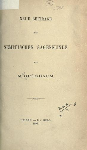 Download Neue Beiträge zur Semitischen Sagenkunde.
