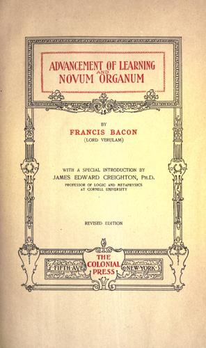 Download Advancement of learning and Novum organum