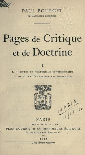 Pages de critique et de doctrine.