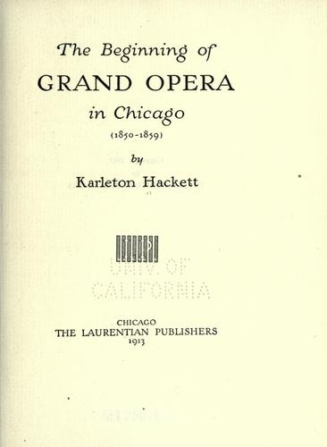 The beginning of grand opera in Chicago (1850-1859)