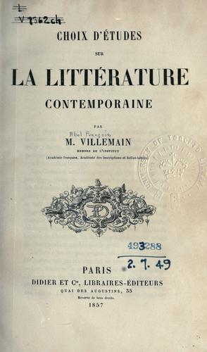 Choix d'études sur la littérature contemporaine.