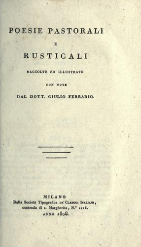 Download Poesie pastorali e rusticali, raccolte ed illustrate con note.