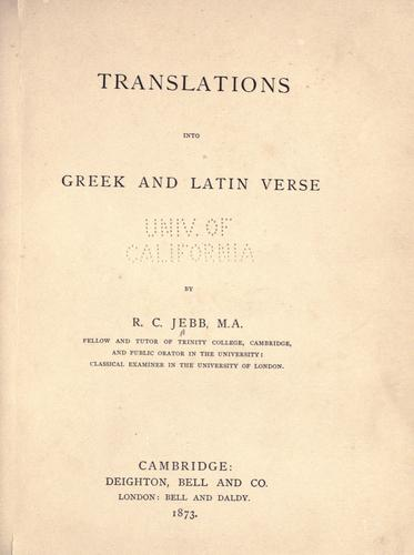 Download Translations into Greek and Latin verse