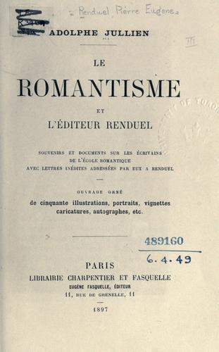 Download Le romantisme et l'éditeur Renduel