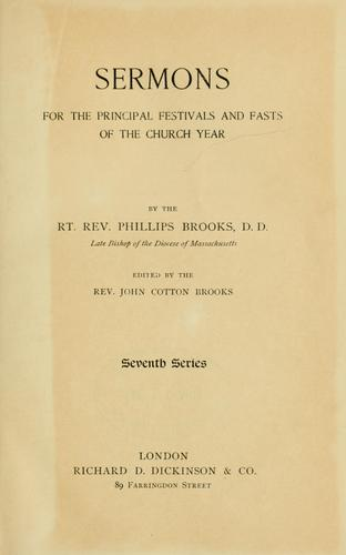 Sermons for the principal festivals and fasts of the church year.