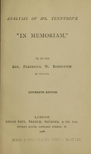 "Analysis of Mr. Tennyson's ""In memoriam."""