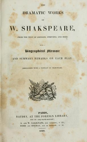 The dramatic works of W. Shakspeare