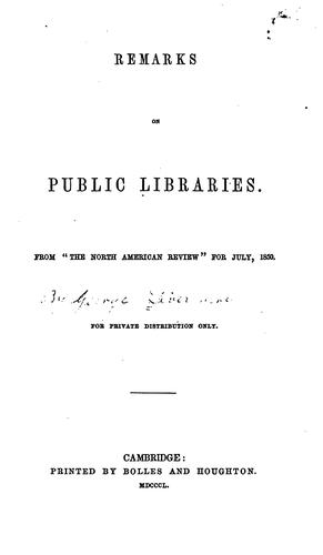 Download Remarks on public libraries.