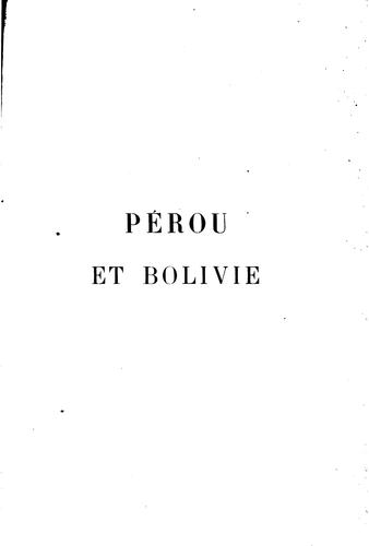 Pérou et Bolivie by Charles Wiener