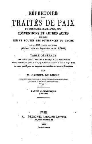 Download Répertoire des traités de paix de commerce, da̕lliance, etc.