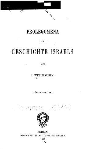 Download Prolegomena zur Geschichte Israels