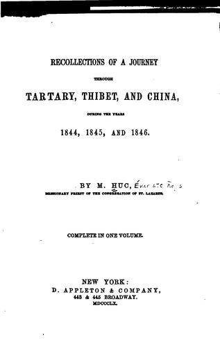 Download Recollections of a journey through Tartary, Thibet, and China, during the years 1844, 1845, and 1846.