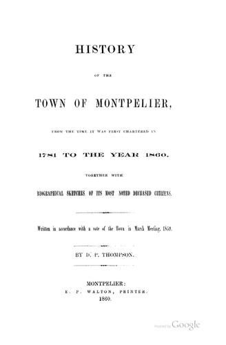 History of the town of Montpelier