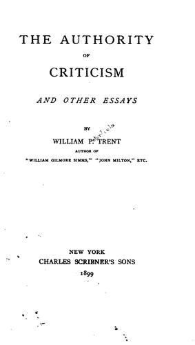 The authority of criticism, and other essays
