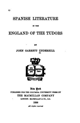 Spanish literature in the England of the Tudors