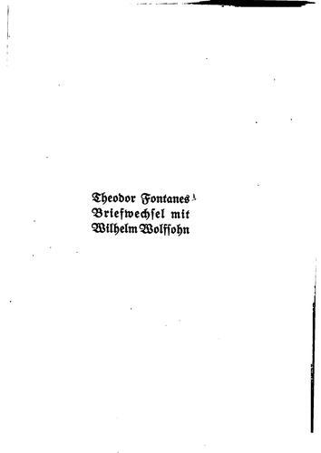 Download Theodor Fontanes Briefwechsel mit Wilhelm Wolfsohn