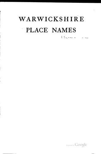 Download Warwickshire place names