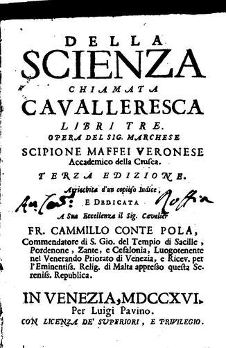 Della scienza chiamata cavalleresca libri tre