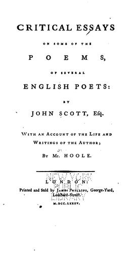 Download Critical essays on some of the poems of several English poets.