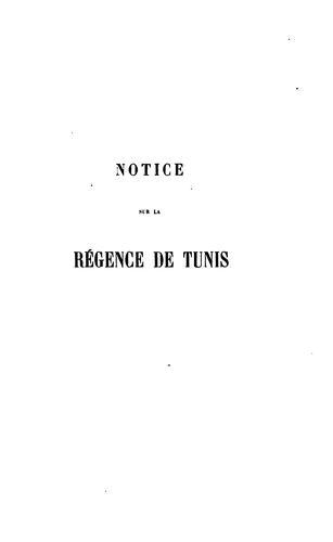 Notice sur la Régence de Tunis