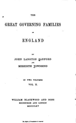 Download The great governing families of England