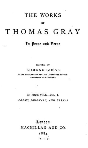 Download The works of Thomas Gray in prose and verse