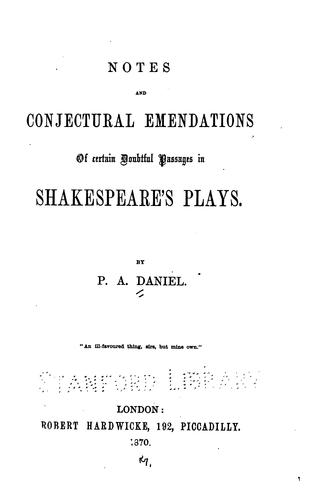 Download Notes and conjectural emendations of certain doubtful passages in Shakespeare's plays