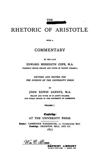 The rhetoric of Aristotle.