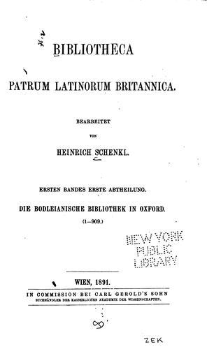 Bibliotheca patrum Latinorum Britannica.