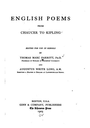 Download English poems from Chaucer to Kipling.