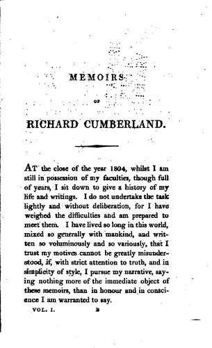 Download Memoirs of Richard Cumberland.