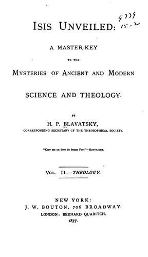 Isis unveiled by H. P. Blavatsky