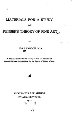 Download Materials for a study of Spenser's theory of fine art.