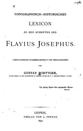 Download Topographisch-historisches Lexicon zu den schriften des flavius Josephus.