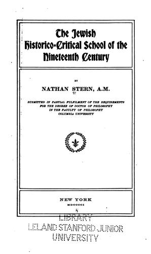 Download The Jewish historico-critical school of the nineteenth century.