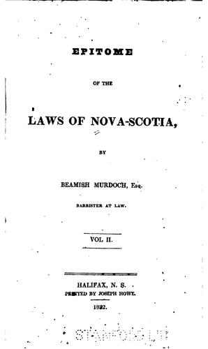 Download Epitome of the laws of Nova-Scotia.