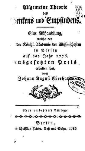 Allgemeine Theorie des Denkens und Empfindens.