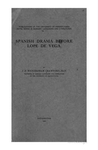 Download Spanish drama before Lope de Vega.