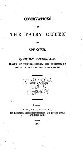 Download Observations on the Fairy queen of Spenser.