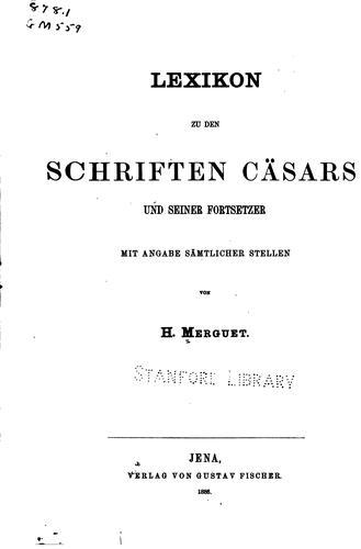 Download Lexikon zu den Schriften Cäsars und seiner Fortsetzer